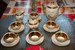 Vintage,  6 Personen Mokka - Service Creme,  Viel Gold,  Paradiesvogel/orchidee Dekor Bild