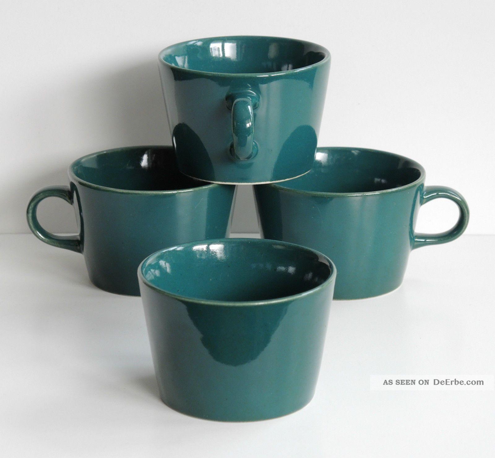 Arabia Finland Kilta Geschirr 3x Kaffeetasse U.  1 Zuckertopf Grün Kaj Franck 1950-1959 Bild