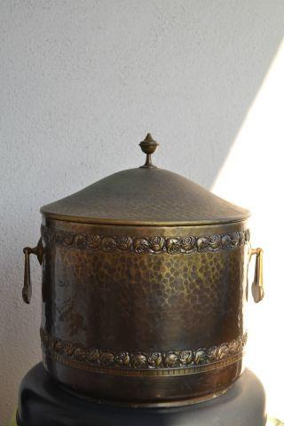 Antiker Jugendstil Bowle /topf Mit Deckel - Blumen / Messing/bronze Um 1920 - Rar Bild
