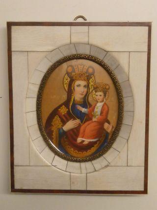 Madonna Mit Kind,  19.  /20.  Jh. ,  Miniatur Auf Bein,  Beinrahmen,  Wohl Russland,  Gepflegt Bild