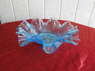 Antike Pressglas - Schale - Blaues Wellenrand - Uranglasanteile - Schönes Pressglasmotiv Bild
