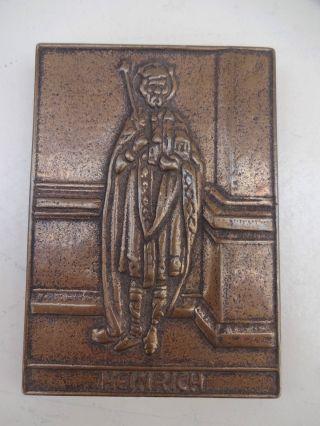 Vintage Bronze Plakette Relief Heiliger Heinrich Ii Von Eva Limberg Bild