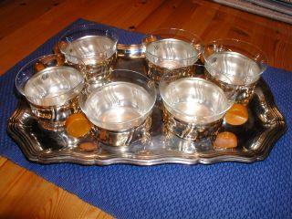 Teeservice - Silber Teegläser Mit Tablett 1950 Weihnachten Geschenk Bild