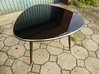 50er Midcentury - - Nierentisch - Glasplatte In Schwarz - Bild