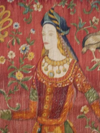 Mittelalter Dame Einhorn Gefühl Tapisserie Wandbehang Wandteppich Gobelin Bild