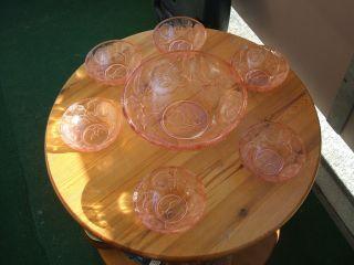 Schöne Alte Glasschale Mit 6 Dessertschalen,  Rosalinglas Bild