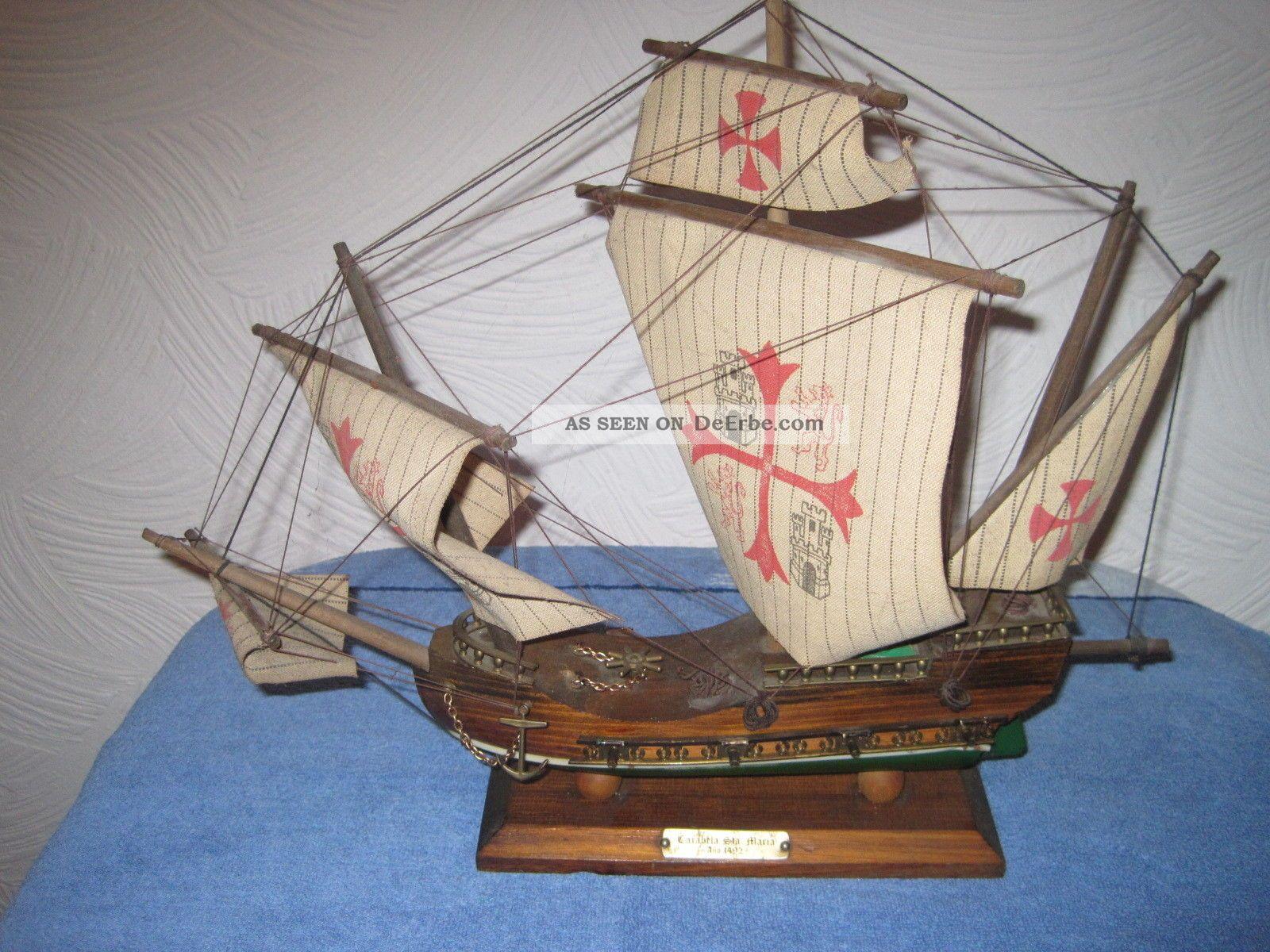 Modellschiff Segelschiff Teakholz Schiffsmodell Segelboot Deko Maritim L 42cm