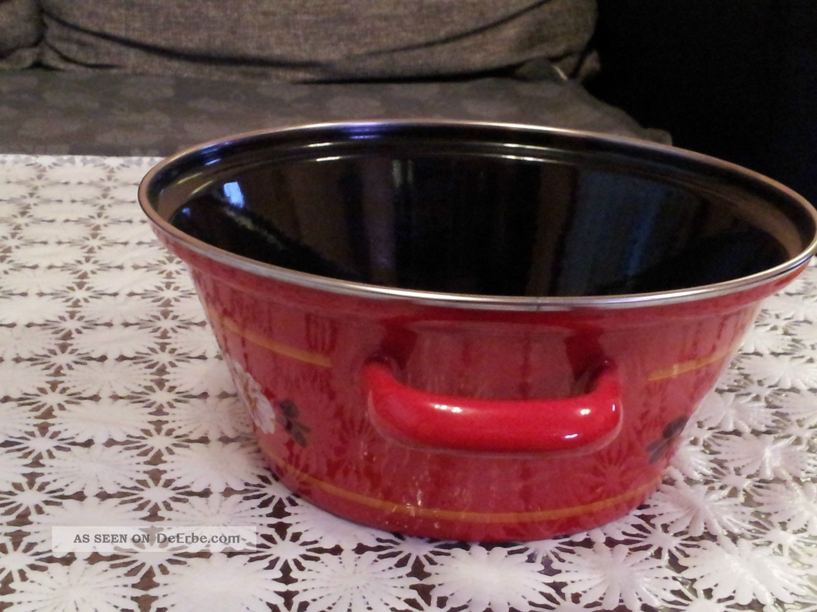 emaille topf vintage kochtopf topf kasserolle rot mit blumen. Black Bedroom Furniture Sets. Home Design Ideas