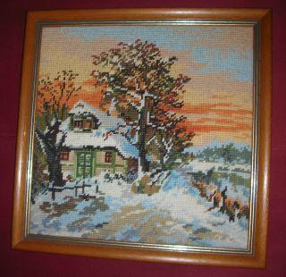 4 Jahreszeiten Gobelinbild Gobelin Winter Mit Holzrahmen Bild