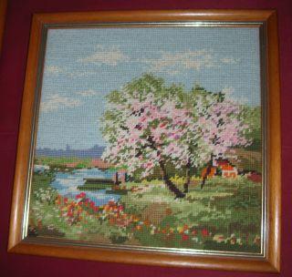 4 Jahreszeiten Gobelinbild Gobelin Frühling Mit Holzrahmen Bild