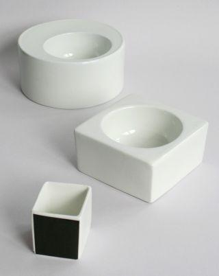 Ernst P.  Degen Porzellan 3 Objekte 60er Jahre Op Art Schale Vase 60s Bild