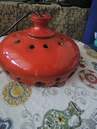 70er 80er Jahre Hängelampe Küchenlampe Keramik Orange/rot - Panton Ära - Kult Bild