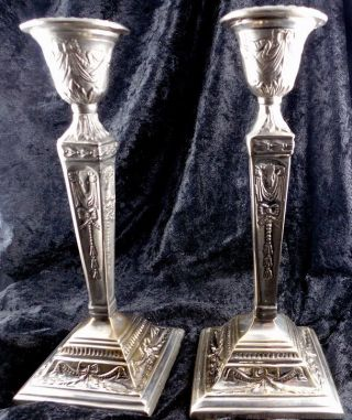 C1910 Jugendstil Silber Kerzenleuchter Empire 2stck.  Versilbert Kerzenhalter Bild