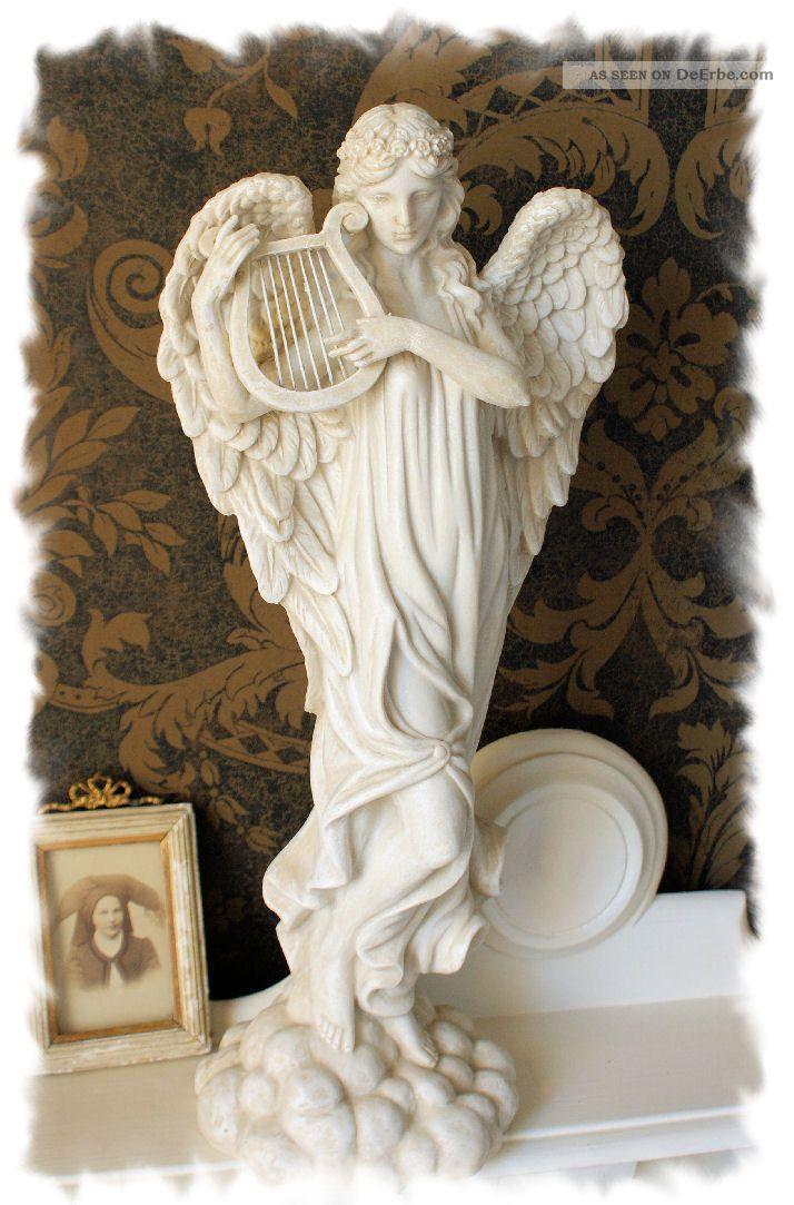vintage engel shabby chic figur antik engelsgra harfe engelfigur weihnachten. Black Bedroom Furniture Sets. Home Design Ideas