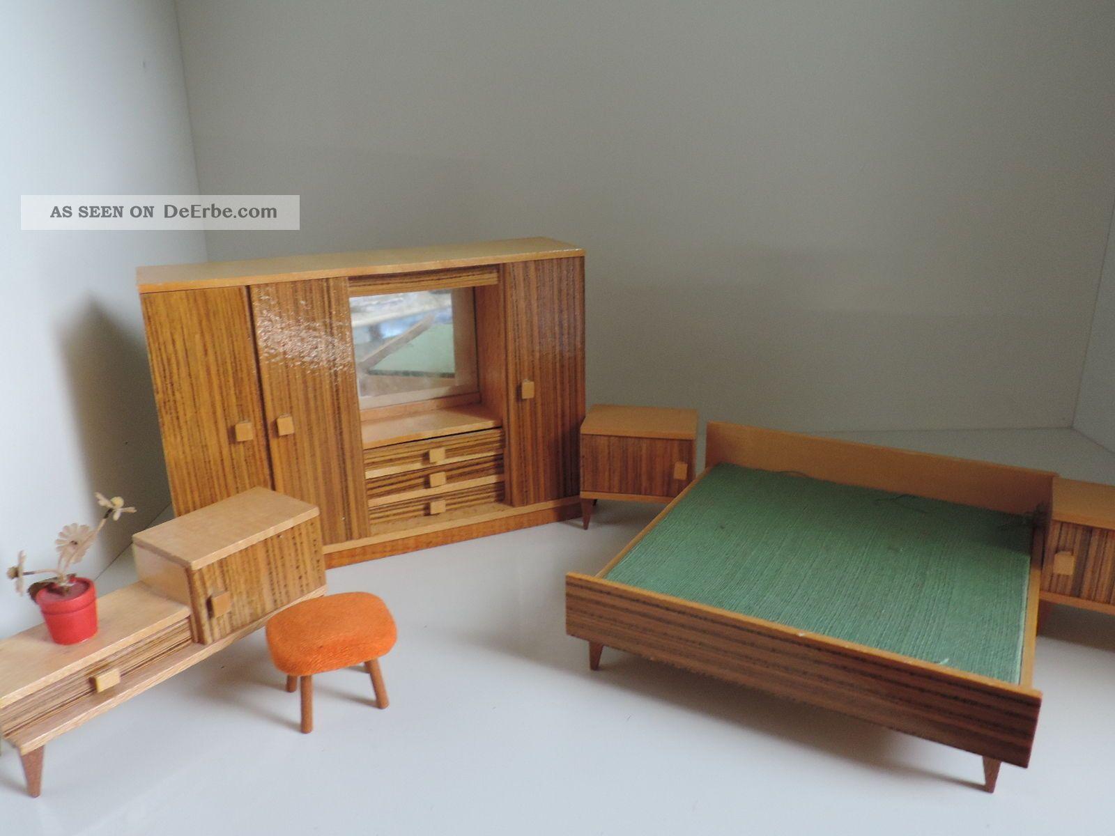 puppenstubenm bel schlafzimmer 50er 60er jahre holz. Black Bedroom Furniture Sets. Home Design Ideas