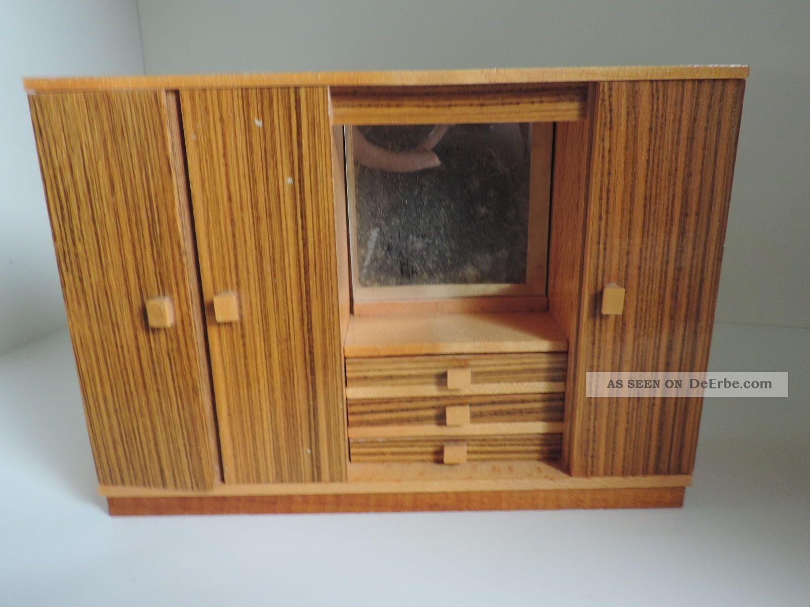 Puppenstubenmöbel, Schlafzimmer 50er - 60er Jahre, Holz