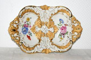Meissen Prunk - Schale B 185 Porzellan Deutsche Blume Bukett & Ätz - Gold 4928 Bild