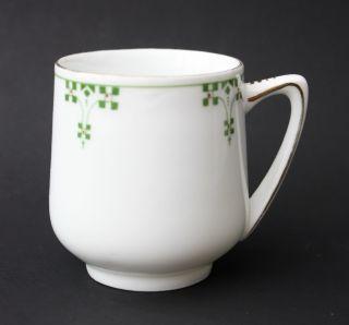 Antike Jugendstil Porzellan Kaffeetasse Grüner Dekor Goldrand Modell - N° 005234/4 Bild