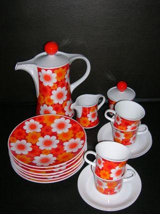Mitterteich Kaffee - Service 17 - Teil.  Prilblume Orange - Rot Flowerpower Kult Rar Bild