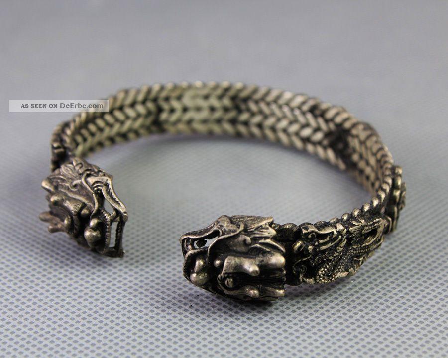 Collcetible Selten Armbänder Armreif Drache Aus Tibet Silber China