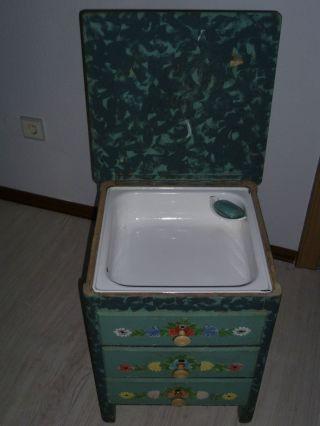 RaritÄt Alter Waschtisch,  Beistelltisch,  Hocker Mit Schubladen Bild