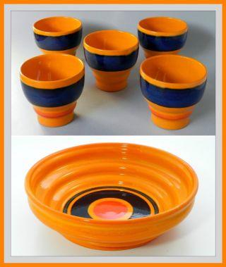 Wächtersbach 5 Becher,  Schale Schüssel Orange Keramik Cup Bowl Dish 70s Pottery Bild