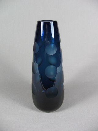 Vase Kristall Friedrich Glas Blau Dots Schliff Dickwandig 19,  5cmh 70er 60er Bild