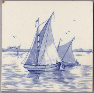 Antike Fliese Kachel 2er Satz Holland Um 1900 Motivfliese (2) Bild