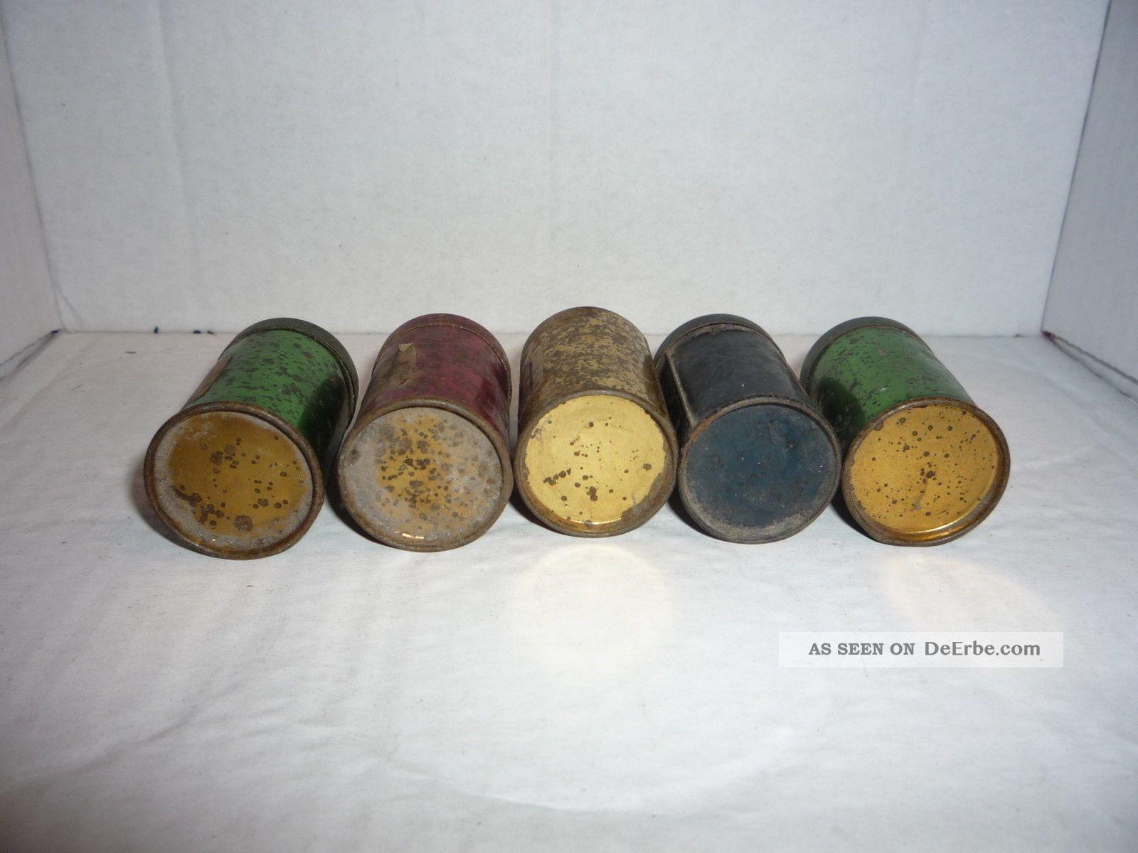 6 originale alte blechdosen f r kaufmannsladen kakao bonbon kaffee und tee. Black Bedroom Furniture Sets. Home Design Ideas