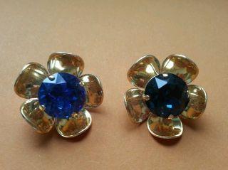 ♥ Tolle Alte Knöpfe Blumen Mit Blauem Swarovskistein 2 Stk Dm Ca.  28 Mm♥ Bild
