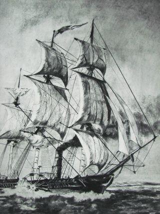 Groß Rad Dampf Segelschiff Wheel Ship Kohl - Bleistift Malerei Pencil Painting Bild