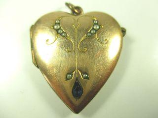 Jugendstil Anhänger Double Gold Medaillon Herz Um1900 Boheme Medallion :51 N4 Bild