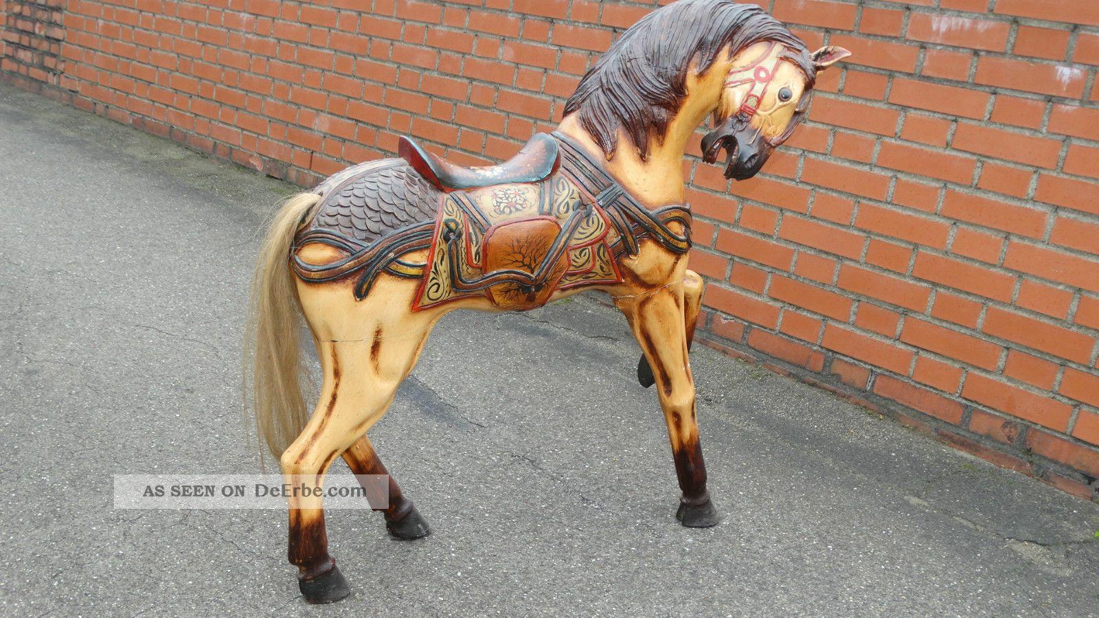 grosses holzpferd karussel pferd schaukelpferd deko 100cm. Black Bedroom Furniture Sets. Home Design Ideas
