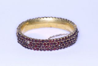 Antiker Jugendstil Armreif Mit Granat Aus Doublégold Garnet A1584 Bild
