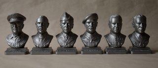 6 Generale Bust Metal - Stahl 20cm Monty,  Patton,  Macarthur,  Rommel,  Zhukov Bild