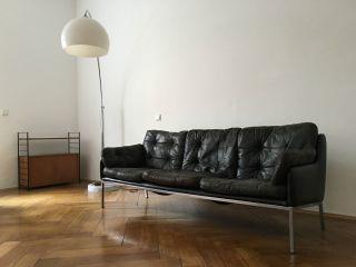 Schwarzes 3er - Ledersofa,  Ledercouch,  Lounge,  Loft,  Vintage,  1970er Bild