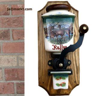Wand Kaffeemühle - Wandkaffeemühle Keramik - Wand Deko - Kaffee Mühle Jagdmotiv Bild