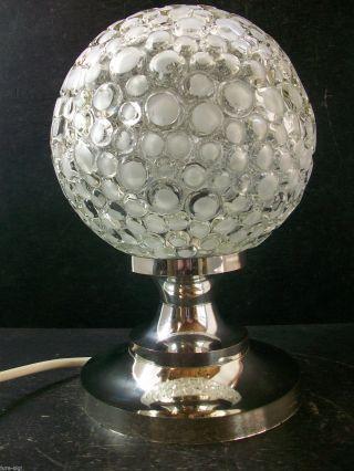 70er Jahre Tischlampe / Bubble - Glas / Chrom - Plastik - Fußteil / Kult - Vintage Bild