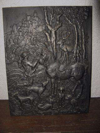 Jagdliches Kunstguß Relief Shw Wasseralfingen Eisenguß 24x31,  5cm 2,  73 Kg Gut Erh Bild