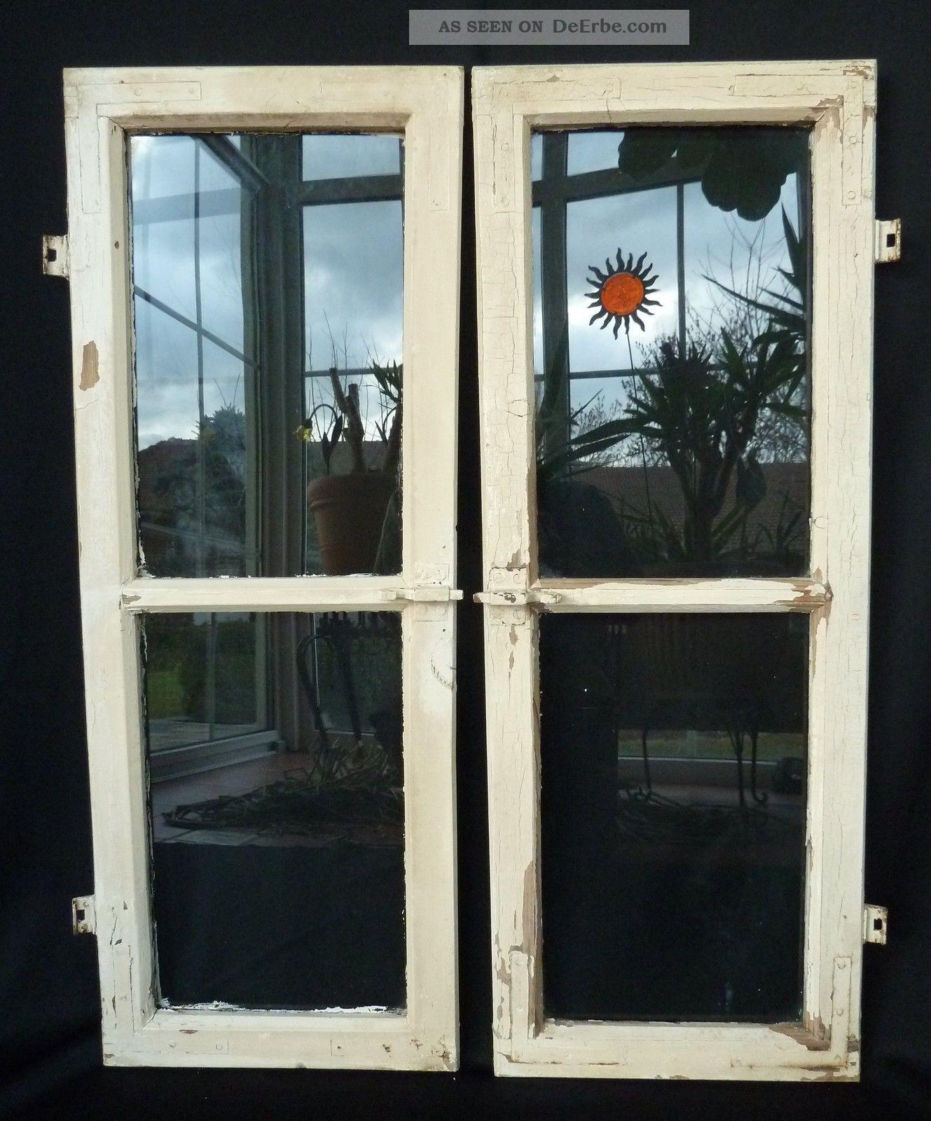 Alte fenster holzfenster oberlichten mit sprossen 2 st ck for Fenster mit sprossen