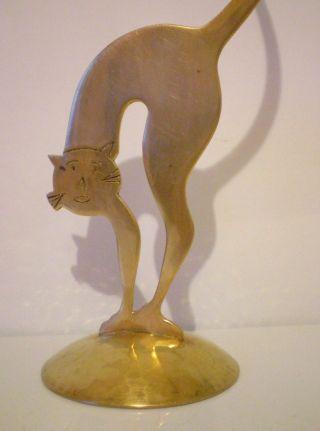 Große Alte Messing Figur Katze Buckelkatze Hammerschlag 28,  5 Cm H Selten Bild
