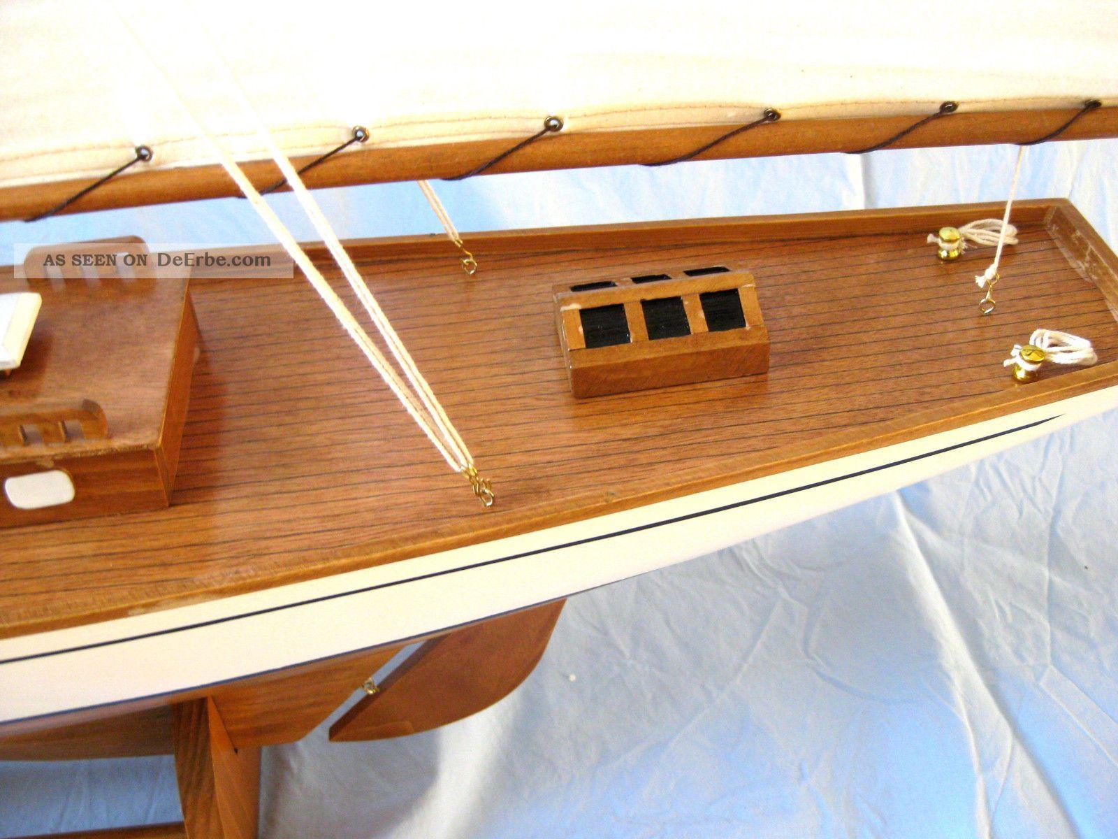 gro es edles schiffsmodell segelyacht 125cm holz mit gesteppten stoffsegeln boot. Black Bedroom Furniture Sets. Home Design Ideas