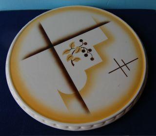Kuchenplatte Grünstadt Keramik Nr.  6449 Abstraktes Dekor 20er - Jahre Spritzguß Bild