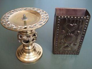 Leuchter Messing Kerzenhalter Streichholzschachtelhalter Kerzenständer Vintage Bild