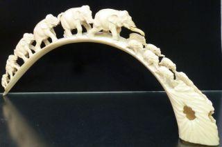 Elefanten/elefantenherde Aus Sehr Alten,  Edlem Bein.  Lca.  400mm.  Hca.  180mm - 300gr Bild
