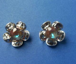 ♥ Tolle Alte Knöpfe Blumen Silber Mit Blaubraunem Glasstein 2 Stk Dm Ca.  22mm♥ Bild
