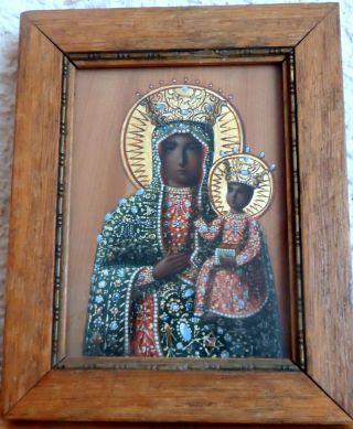 Ikone Mutter Gottes,  Griechisch,  Icon Heiligenbild Holz,  100x750mm,  Hinter Glas Bild