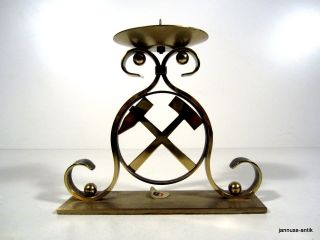 Alter Kerzenständer Metall Messing Handarbeit Bergbau Seltenes Sammlerstück Bild