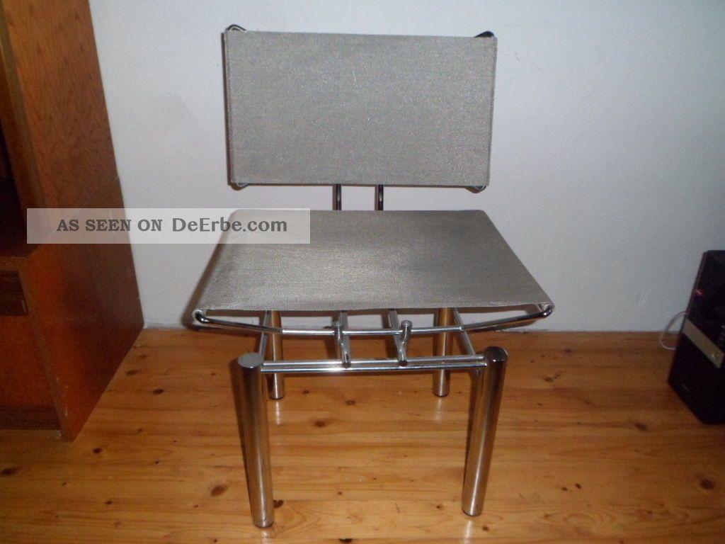 Designer stuhl chrom sitz und lehne aus metallgeflecht for Stuhl design epochen