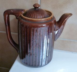 Steingut Kaffeekanne Braun Glasiert - Sehr Alt Und Feuerfest - Ungemarkt 1,  5 Lit Bild